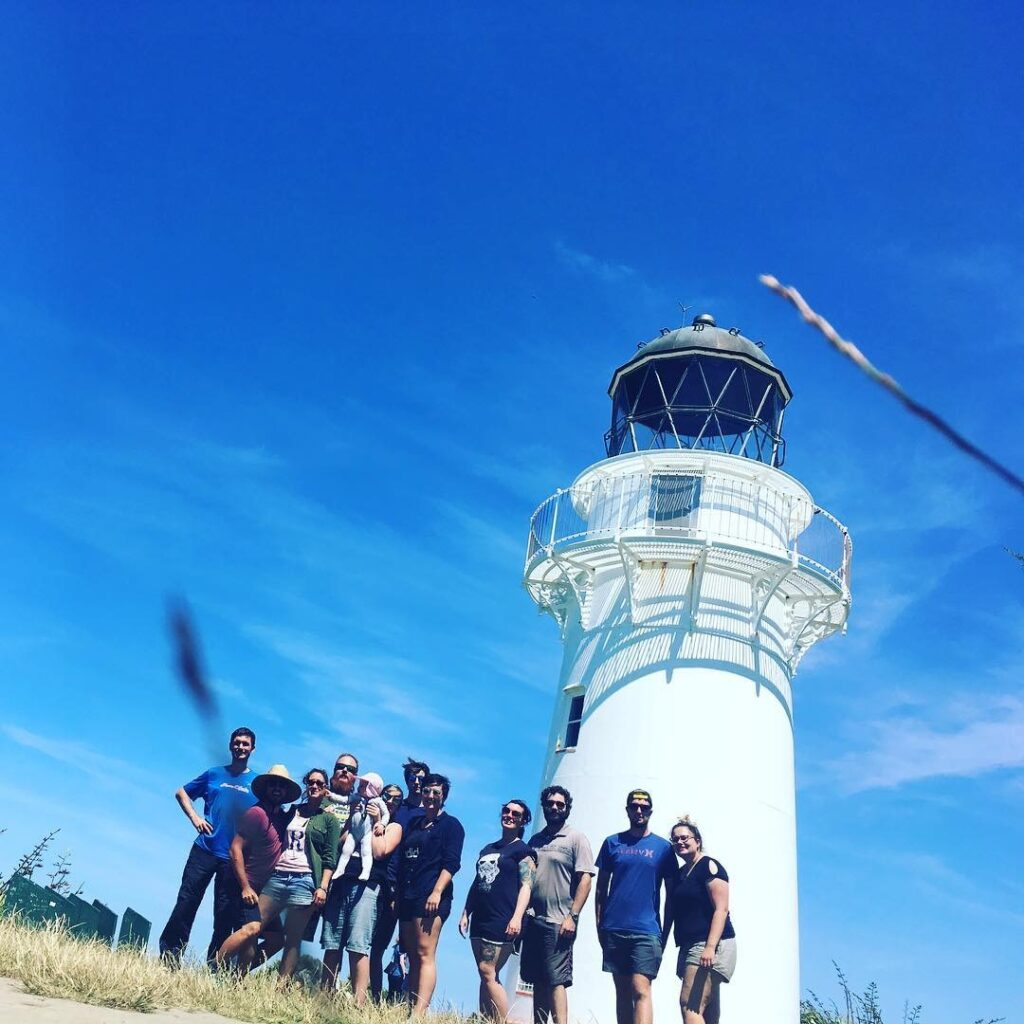 Team photo of young guns at East Cape Lighthouse. #nzmvc #landrover New Zealand Military Vehicle Club Inc