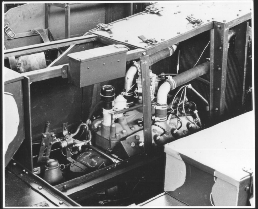Bren carrier engine bay, ford v8 motor