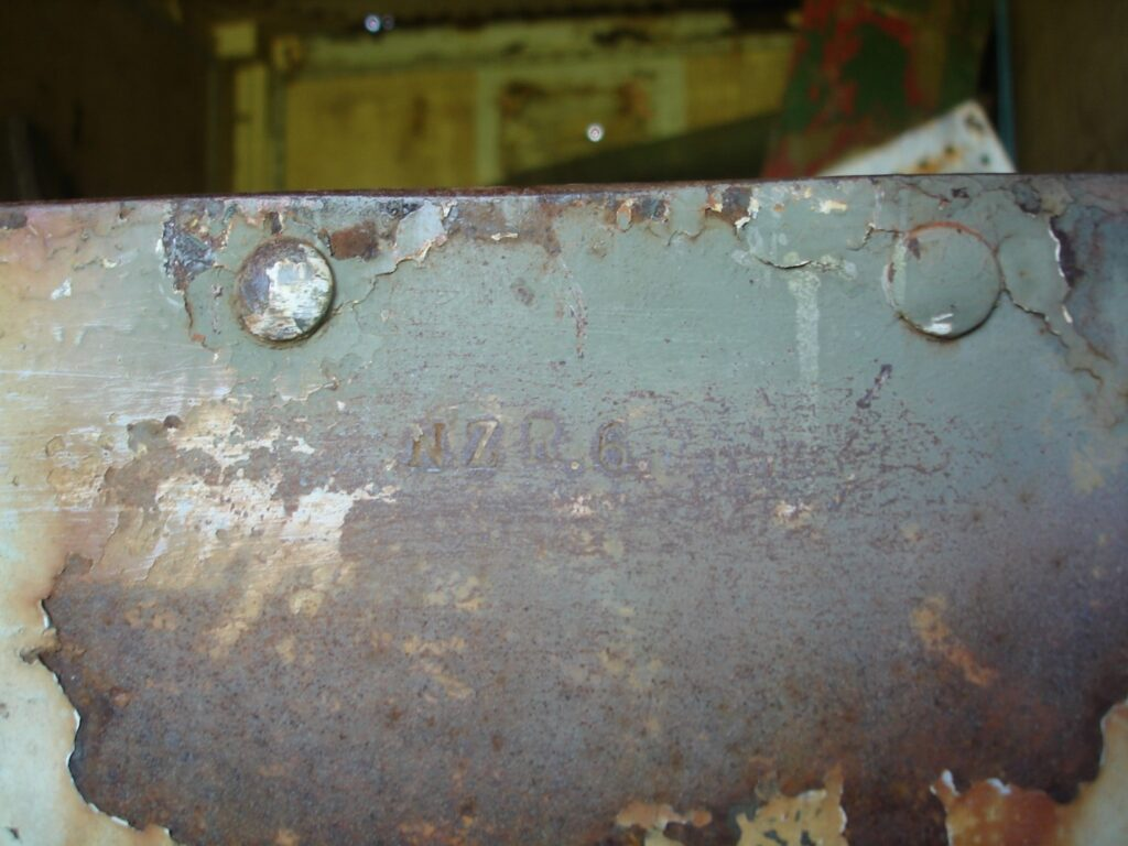 bren carrier frame - chassis. serial number. NZR 6