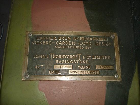 bren carrier. I.D. plate on HMH 243. #nzmvc